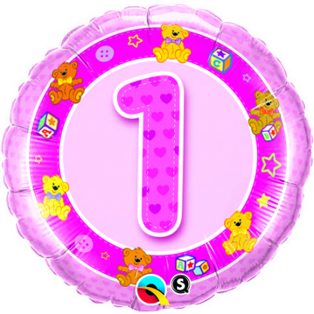 1st Birthday Teddies Pink Foil Balloon